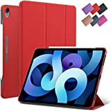 iPad Air 4 10.9-inch case, ROARTZ Red Slim Fit Smart Rubber Coated Folio Case Hard Cover Light-Weight Wake/Sleep for Apple iPad Air 4th Generation 2020 Model A2316 A2324 A2325 A2072