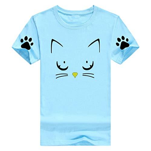 TWIFER Damen Kurze Ärme T Shirt Mädchen Tee Sommer Beiläufiger Oansatz Katzendruck Oberseiten Shirts Bluse