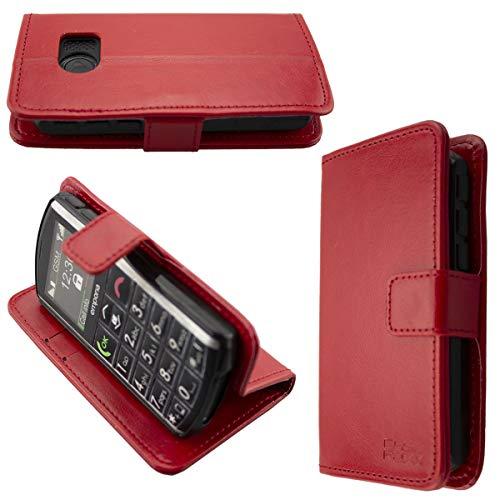 caseroxx Handy Hülle Tasche kompatibel mit Emporia Pure V25 Bookstyle-Hülle Wallet Hülle in rot