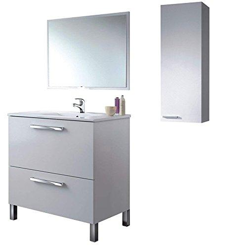 Mueble BAño con Grifo Incluido, Espejo + Lavabo + Armario de Pared...