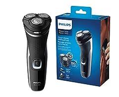 Idea Regalo - Philips S1332/41 Rasoio Series 1000, Testine Flex 4D, Lame PowerCut, Apertura OneTouch, Uso Cordless e Corded, 45 minuti di autonomia,Indicatore batteria 1 livello, Rifinitore a scomparsa, Nero lucido