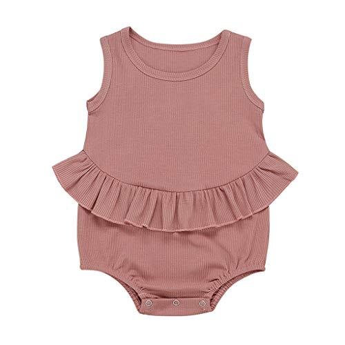 Kobay Neugeborene Baby Mädchen Jungen Ärmellose Solid Striped Strampler Bodysuit Outfits Kinder Ärmellose Solid Color Plissee Rüschen Harmonie Furz (3-24M)
