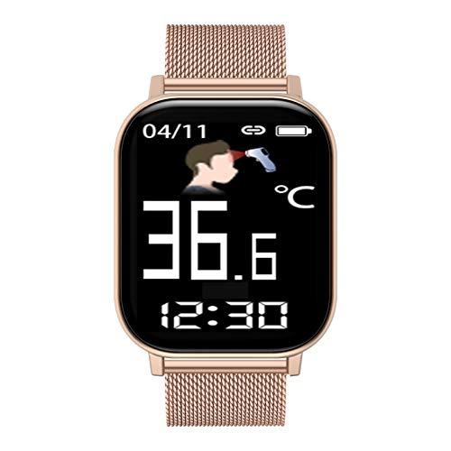 FMSBSC Reloj Inteligente Hombre Smartwatch - Medidor de Temperatura Corporal, Pulsómetros, Monitor de SpO2, Ritmo Cardíaco, Pulsera Actividad Inteligente para Android iOS,Oro