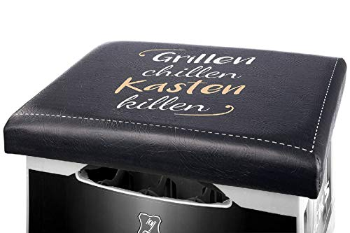 Gilde - 49827 - Kunststoff Sitzpolster für Bierkisten, Grillen, chillen Kasten Killen, schwarz, 32cm x 42cm x 5cm, paßt auf den handelsüblichen Bier- oder Getränkekasten.
