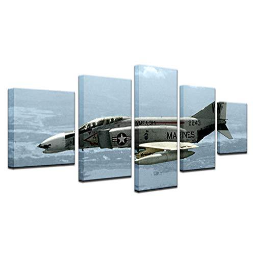 YUANSAHN canvas afdrukken 5 stuks canvas afdrukken Vintage Aircraft Art oud vliegtuig afbeelding muurdecoratie schilderij retro vliegtuig strijder poster