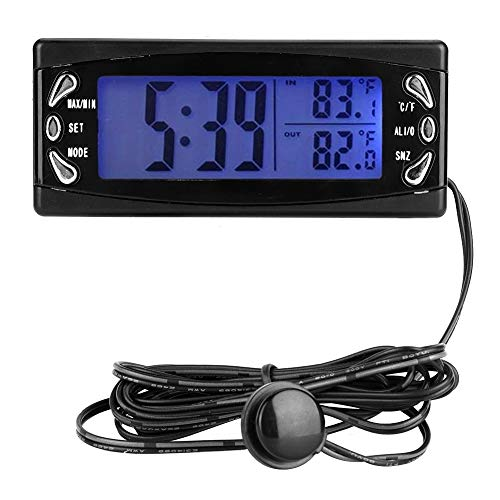 Digital Car Thermometer-12V Multifunctional Automobile Thermometer Gauge Vehicle Clock LCD Temperature Meter with Alarm Function T23