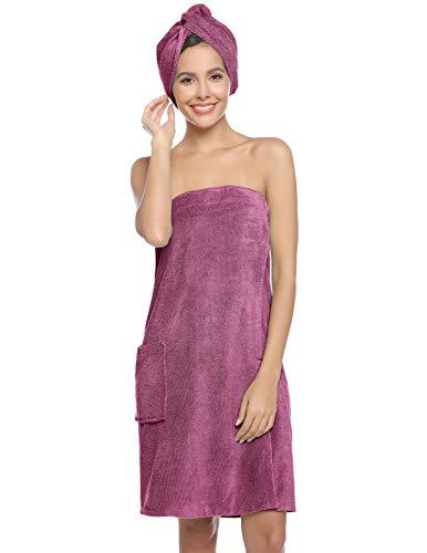 Zexxxy Saunakilt Dames Sauna handdoeken Saunahanddoek Bath Wrap voor douche met Hair Wrap Warm Loungewear Badjas