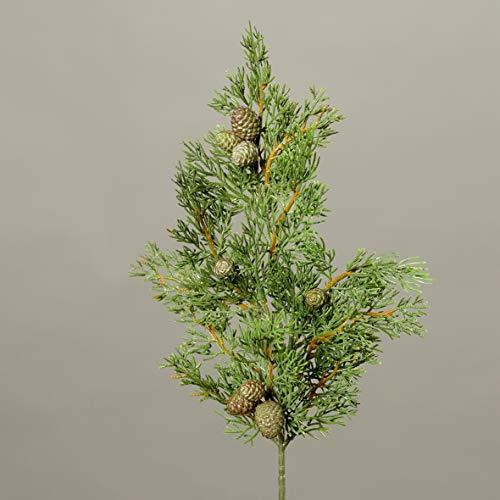Seidenblumen Roß Zypressenzweig 50cm mit Früchten DP künstlicher Zedernzweig Tannenzweig Zeder Zypresse