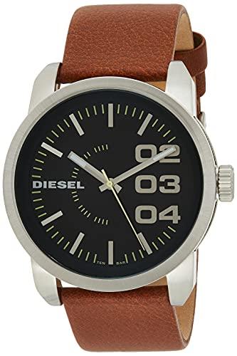 Diesel Hombre DZ1513 Doble Down Stinless Acero Marrón Reloj de cuero