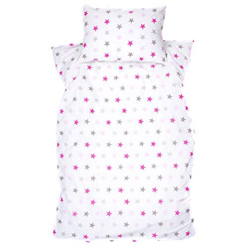 Amilian Kinderbettwäsche 2-teilig 100% Baumwolle Kinder Bettwäsche Babybettwäsche für Baby Bettbezug 100 x 135 cm, Kopfkissenbezug 40 x 60 cm, mit Hotelverschluß Sterchen Groß Rosa