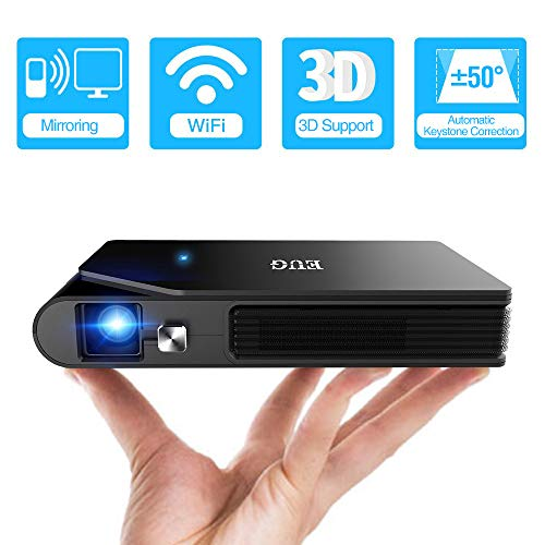 WIKISH Mini Projector,8400mAh Battery Powered 3D DLP Projector Wireless Airplay 150 Inch Display...