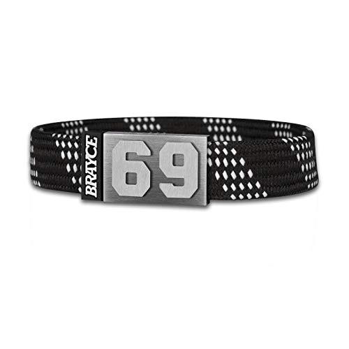 BRAYCE® Eishockey Armband im Schnürsenkel Style mit Deiner Trikot Nummer 00-99 I Hockey Lace schwarz I Trikot am Handgelenk personalisierbar & handgemacht