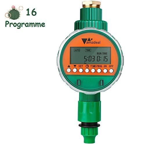 amzdeal Elektronische Wasser Timer Bewässerungsuhr mit LED Display, Bewässerungscomputer mit automatisches Bewässerungssystem für Garten, Balkon Pflanz