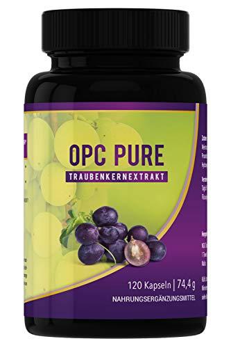 OPC PURE TRAUBENKERNEXTRAKT I hergestellt in Deutschland I Antioxidantien Kapsel ohne unerwünschte Zusätze I 120 Kapseln PREMIUM I hochdosiert rein