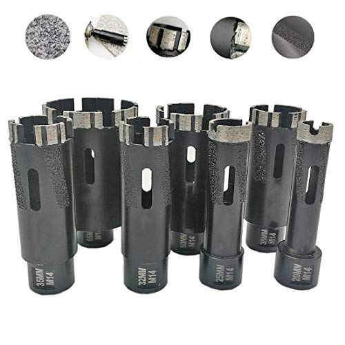 SHENYUAN 1pc Laser Welded Turbo Segments Dry Diamond Hole Saw Dry Drilling Core Bits M14 or 5/8-11 Thread for Granite Marble (Size : 1pc 35mm 5 8)