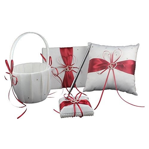 Red Four Wedding Accesorries Sets High Quality Wedding Guest Book +Pen Set +Flower Girl Basket + Ring Pillow, Double Hearts Rhinestone Elegant Wedding Ceremony Party Favor Sets