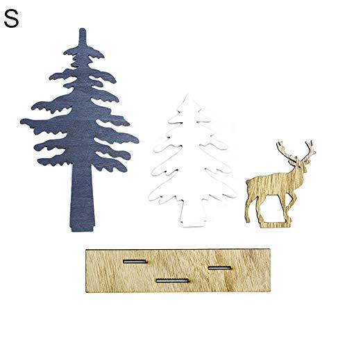 Ordertown - Decoración navideña de madera con forma de árbol de alce para escritorio, decoración de jardín o fiesta de bricolaje para decoración del hogar