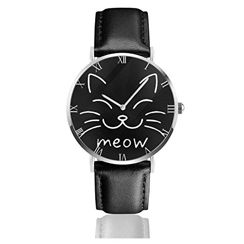 Meow Cat Face Relojes Unisex Reloj de Moda Ultrafino