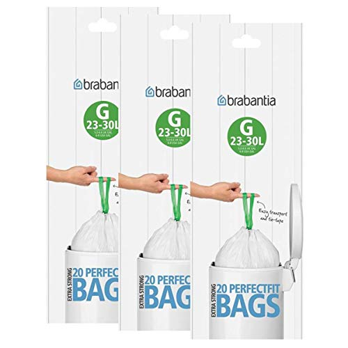Brabantia 246265 – Bolsas de basura, tamaño G, 30 l, 20 bolsas por rollo, 3 unidades, plástico, Blanco, G 30l