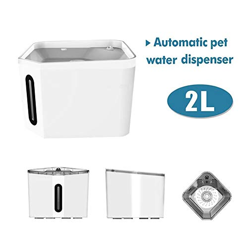 PDVCB Haustier-Wasser-Brunnen Transparente Katze Trinkwasserspender, Ultra Silent 2.4L große Kapazitäts Automatische verteilende Wasser, Cling Film-Material (Color : White)