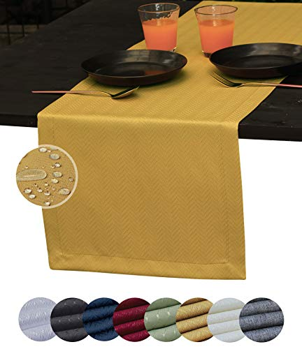 Yellow Table Runner 72 inch, Outdoor Dresser Scarf, Coffee Table Runner, Waterproof Dining Table Runners, Mustard Sand Decor Fiesta, Gold Dinner Parties, Wedding, Thanksgiving, Halloween, Christmas