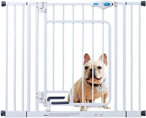 カールソンハンズフリーオートロックゲート犬猫ペットゲートフェンスドア付き突っ張りタイプ脱走防止柵仕切り