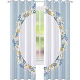 YUAZHOQI Cortina opaca con marco de flores de manzanilla y olvidarme no con diseño de flores, color azul vintage, 132 x 241 cm