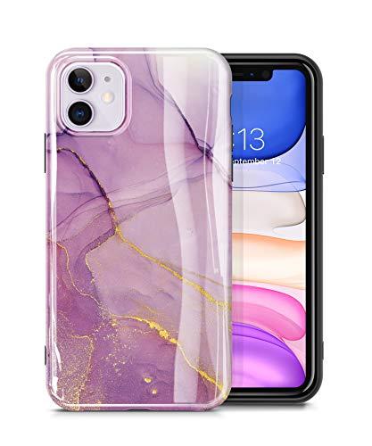 GVIEWIN Cover in Marmo per iPhone 11 2019 6.1'' Case, Cover per Telefono in Silicone TPU Morbido Aderente Ultra Sottile Lucido Compatibile con iPhone 11 6.1 Pollici 2019 (Viola)