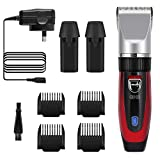 GHB Cortapelos Electrónico Maquinilla Cortar Pelo Ajustable con 4 Peines 2 baterías Color Rojo Adecuado para Barba y Bigote