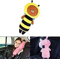 シートベルト枕 、カーシートベルトカバー、キッズ 子供 ぬいぐるみおもちゃシートベルトストラップカバー、自動調節可能、子ともの頭、肩、胸を保護 (ミツバチ)