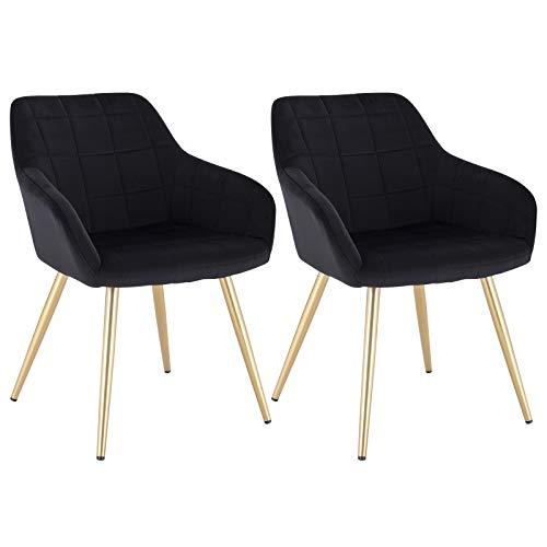 WOLTU® Esszimmerstühle BH232sz-2 2er Set Küchenstuhl Polsterstuhl Wohnzimmerstuhl Sessel mit Armlehne, Sitzfläche aus Samt, Gold Beine aus Metall, Schwarz