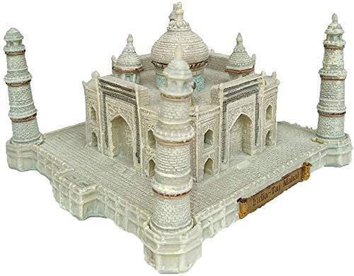 MEETGG Sculpture, Landmark Building Model Ornaments, Home Decoration, Indian Taj Mahal Collectibles, Mini Desktop Crafts, Tourist Souvenirs (12.7X12.7X7.8Cm)