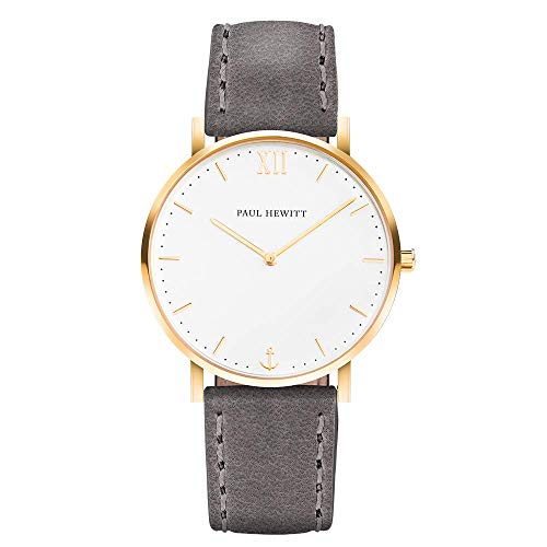 PAUL HEWITT Armbanduhr Männer Edelstahl Sailor Line White Sand - Herren Uhr Lederarmband (Grau), Herren Armbanduhr (Gold), weißes Ziffernblatt