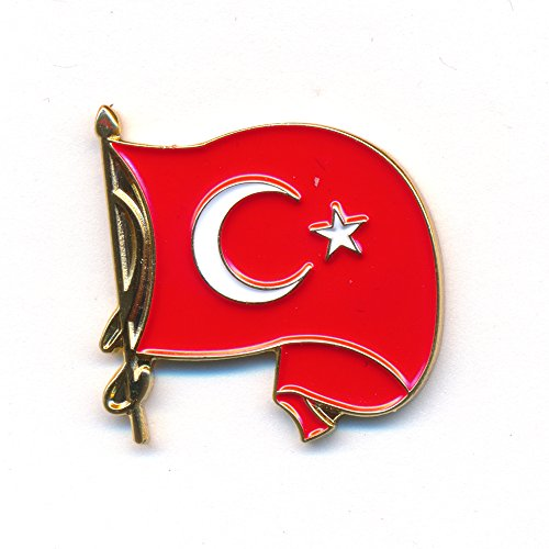 Wehende Türkei Flagge - Waving Türkiye Flag Badge - Edel Pin Anstecker 0237