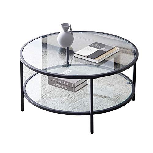 Mesa Lateral De Café Redonda De La Superficie De Cristal Clásica con Gran Espacio De Almacenamiento para Sala De Estar 85 * 85 * 45 Cm Simplicidad Moderna