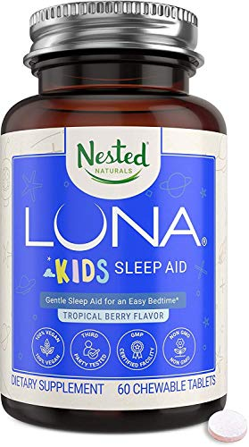 Luna Kids – Sleep Aid for Children & Melatonin Sensitive Adults, Naturally Sourced Ingredients for Longer Sleep & Wake Up Feeling Refreshed - Gentle Herbal Supplement with Chamomile, Melatonin, Valerian & Lemon Balm – 60 Chewable Pills