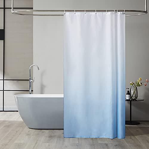 Furlinic Duschvorhang Textil Anti-schimmel Wasserdicht Waschbar Badvorhang aus Polyester Stoff Weiß nach Hellblau 120x200cm mit 8 Duschvorhangringen.