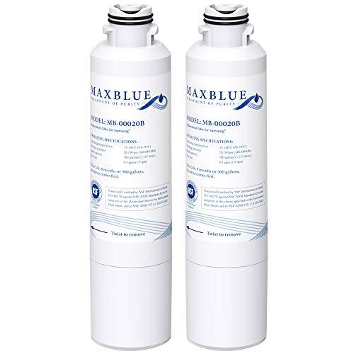Maxblue DA29-00020B Refrigerator Water Filter, Replacement for Samsung HAF-CIN/EXP, DA29-00020A/B, DA97-08006A, RF28HMEDBSR, RF4287HARS, RF263TEAESG, RH22H9010SR, 2 Filters