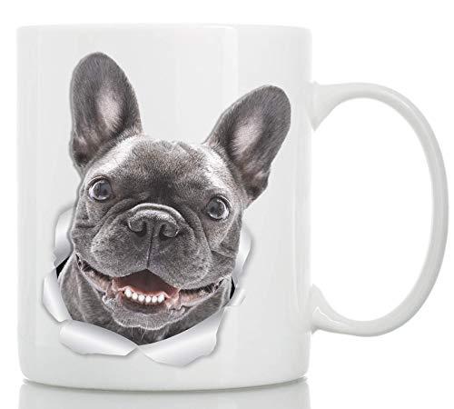 Smiling French Bulldog Mug - Ceramic French Bulldog Cofee Mug - Perfect French Bulldog Gifts - Funny Cute French Bulldog Dog Coffee Mug for Dog Lovers (11oz)