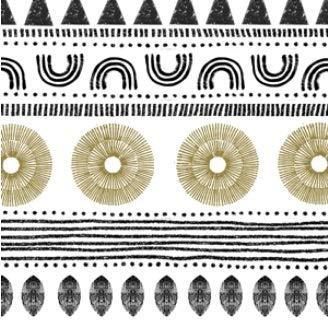 Serviette-n Ethno-Style weiß/schwarz/natur, 33x33cm, 20 Stück-Pack, FSC, 3lagig, wiederverschließbare Packung