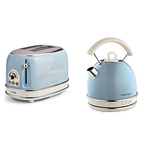 Ariete 155 Toaster mit 2 Schlitzen Vintage Céleste & 2877 Kabelloser Wasserkocher Vintage, 1,7 L, 2200 W, blau,...