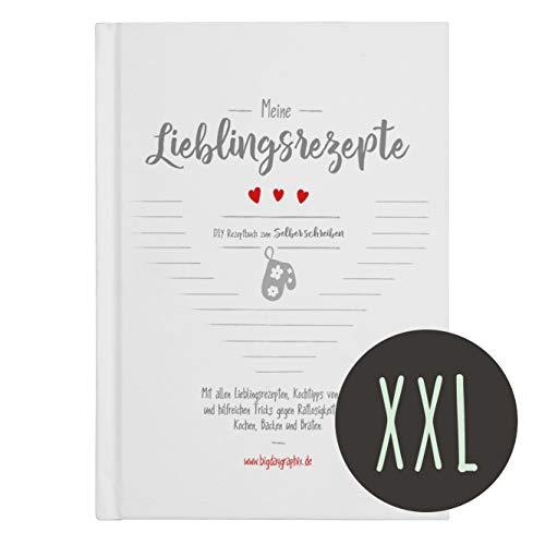 XXL Rezeptbuch zum Selberschreiben & Ausfüllen - DIN A4 Hochformat Hardcover mit Register - Backbuch Kochbuch weiß