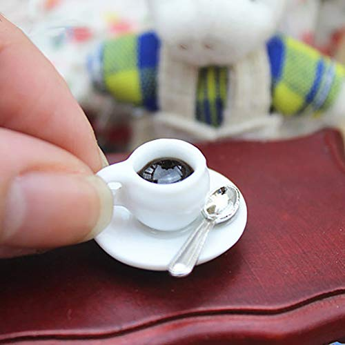 Ruby569y Puppenhaus-Zubehör für Puppenhaus, Miniatur-Kaffeetasse mit Untertasse, Löffel, So-tun-als-ob, Spielzeug