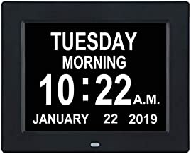 TMC [Newest Version Digital Calendar Day Clock -Extra Large Impaired Vision Memory Loss Clock with 12 Alarm Options for Seniors, Elderly, Dementia, Alzheimer (8-inch,Black)