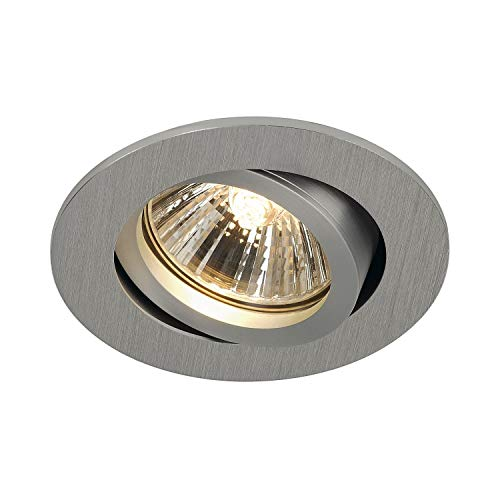 SLV Deckeneinbauleuchte NEW TRIA 68 / Spot, Fluter, Deckenstrahler, Deckenleuchte, Einbau-Leuchte LED, Innen-Beleuchtung / GU10 50.0W aluminium