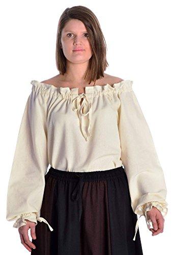 HEMAD/Billy Held Blusa Medieval de algodón Puro Color Beige