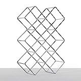 DESIGN DELIGHTS WEINFLASCHENHALTER Quadrat | Metall, Silber, 46 cm | Weinständer, Weinregal, Flaschenhalter