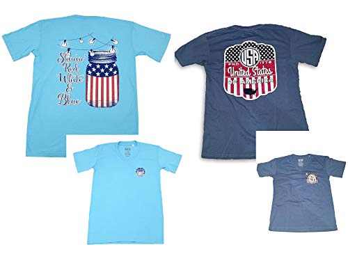 Royce Brand Womens Size 2X-Large Short Sleeve V-Neck USA Patriotic Shirts, 2-Pack Blue