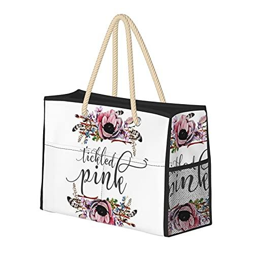 Bolsa de playa grande y bolsa de viaje para mujer – Bolsa de piscina con asas, bolsa de semana y bolsa de noche – Cosquillas rosa Boho Chic Floral Corona Bebé Niña