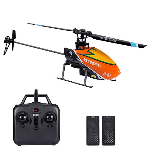 GoolRC C129 RC Helicopter for Adults and Kids, 4 Channel 2.4Ghz Remote Control Helicopter with 6-Axis Gyro, Aileronless RC Aircraft with Altitude Hold, Landing Pad and 2 Batteries (Orange)